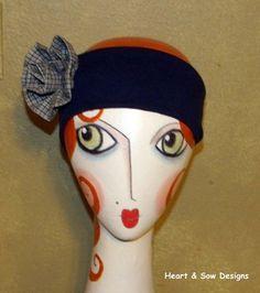Retro Blue Gray Plaid Rose Headband by Heart & Sow Designs