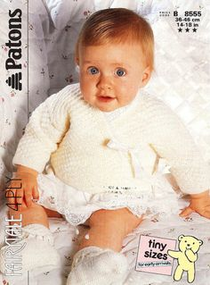 Patons Knitting Pattern 8555, Babys Cross Over Jacket & Bootees