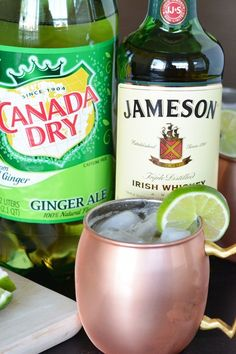 This Irish Mule cocktail combines Irish whiskey, ginger ale and lime for a fun twist on the classic Russian cocktail. Fun St. Patrick's Day drink!
