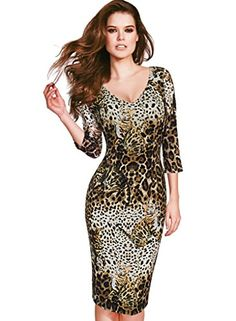 Vfemage Womens Elegant Leopard Cat Printed V Neck Pencil Sheath Dress 4073 LEO 16 * To view further for this item, visit the image link.(This is an Amazon affiliate link and I receive a commission for the sales)