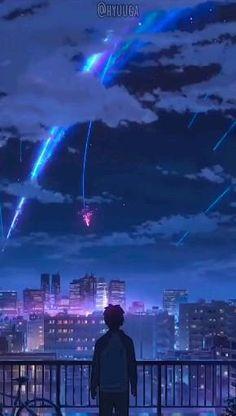 Wallpaper Animes, Anime Wallpaper Live, Anime Scenery Wallpaper, Kimi No Na Wa Wallpaper, Sky Anime, Anime City, Anime Guys, Anime Songs, Anime Music