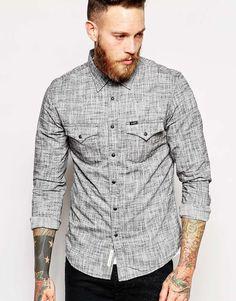 Lee+Shirt+Slim+Fit+Western+Slubby+Plain