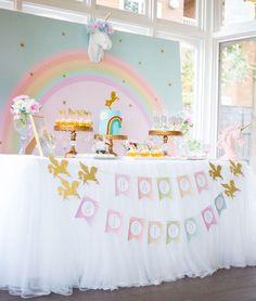 Unicorn dessert table from a Floral Rainbow Glam Unicorn Birthday Party on Kara's Party Ideas | KarasPartyIdeas.com (11)
