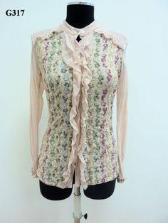 Camicia in doppio tulle con il davanti in tessuto ricamato multicolor
