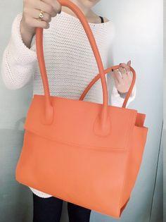 Coral leather satchel, genuine leather bag, fashion design, women shoulder bag, women purse, leather tote bag