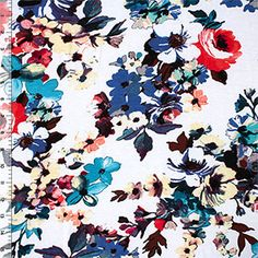 Teal Plum Watercolor Floral on White Cotton Spandex Blend Knit Fabric for a tee dress.