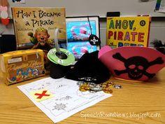 Fun Pirate Unit from Speech Room News Preschool Pirate Theme, Pirate Activities, Speech Activities, Language Activities, Preschool Activities, Educational Activities, Speech Language Therapy, Speech And Language, Speech Therapy