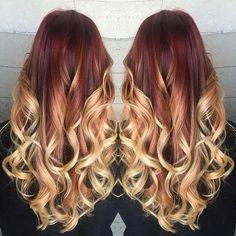 Red & Blonde Balayage Hair