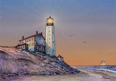 """""""Cape Henlopen Lighthouse"""" by Paul McGehee. The scene depicts the famous Delaware lighthouse overlooking the Atlantic Ocean coastline over a century ago. The historic light was only the sixth beacon constructed in Colonial America, completed in 1767. A beautiful, hand-signed limited edition print (only 500 copies) from McGehee's original color pencil drawing. Price: $100.00 S/N."""