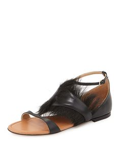 Fur Trimmed Flat Sandal, Nero by Francesco Russo at Neiman Marcus.
