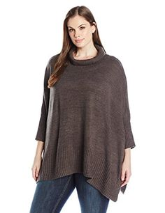 cbbf950429 Jones New York Women s Plus Size Turtleneck Poncho Sweater