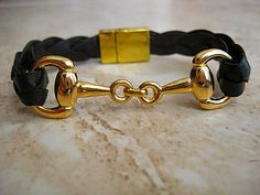 Thick Braided Black Leather Bracelet with by BeachSideLeathers, $18.99