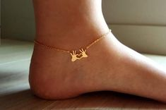 18k Gold Double Hand Anklet,Heart anklet,Hearts Anklet,Loveknot Anklet,Cute Anklet,Birthday gift,Bridesmaid Gift,Christmas gift
