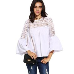 SheIn Womens Casual Tops For Autumn Plain White Lace Insert Hollow Cut Out Back Round Neck Long Flare Sleeve Slim Blouse