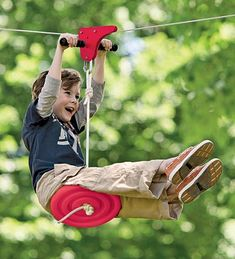 """For kiddos at Oma and Opa's House  $129 The 70-Foot Zipline with Seat Kit includes 70' of 3/16"""" stainless steel cable.    The 90-Foot Zipline with Seat Kit includes 90' of 3/16"""" stainless steel cable.    • Zipline kit  • Adjustable and removable seat  • Quick and easy to set up  • Can enjoy zipline in your own backyard  • Holds up to 250 lbs."""