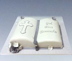 First holy communion cake. Carved bible with sugar flowers. #nj cake bakeries