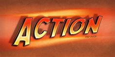 """Create an """"Action"""" Text Effect in Photoshop in 50 Creative Photoshop Text Effect Tutorials"""