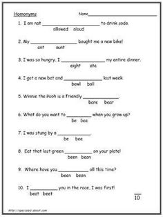 4th grade english worksheets | Homonyms, homophones. Words and worksheets.