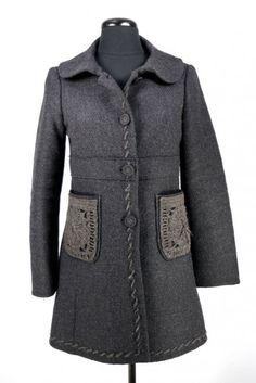 Prada coat with crochet pockets