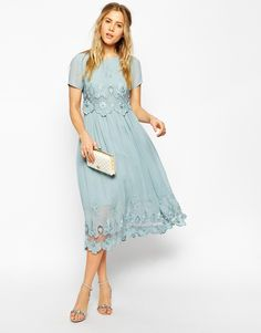 Image 4 ofASOS Premium Vintage Dress with Double Layer and Embroidery