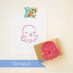 Octopus Hand Carved Rubber Stamp | Fresh Baked Paper Goods