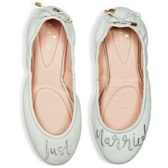 kate spade new york Gwen Leather Just Married Travel Ballet Flats ($155) ❤ liked on Polyvore featuring shoes, flats, palest mint, ballerina pumps, leather shoes, travel shoes, kate spade flats and leather ballet shoes