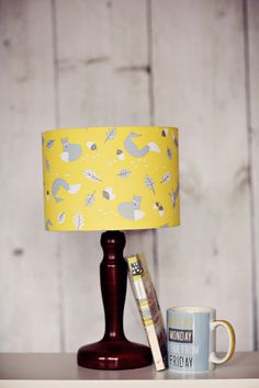 Yellow lampshade fox lamp shade woodland by ShadowbrightLamps