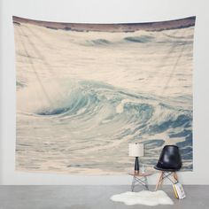 Art Wall Tapestry Ocean Blue 5 Modern photography Unique Wall Hanging home decor gray tan nautical photo photograph beach house navy wave
