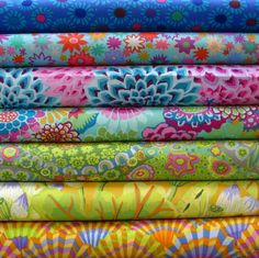 Fabric by Kaffe Fassett my new favorite fabric line! Bold colors. Can't wait to make a quilt with these!