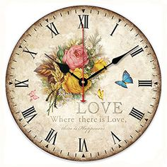 KI Store Silent Non-ticking Round Wood Wall Clocks (12 Inches) Decorative Vintage / Country Style Wooden Rose Roman Numeral Clock KIStore http://www.amazon.com/dp/B00X54I52S/ref=cm_sw_r_pi_dp_rb4Rwb0YZANXT