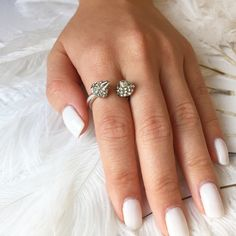 Silver Double Spike Ring - Double Spike Crystal Ring + White Nails = LOVE!