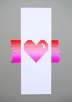 Woven heart card - t
