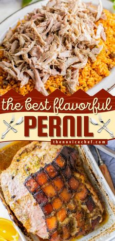 Learn how to make Pernil for Thanksgiving dinner! This Puerto Rican main dish idea is one of the BEST. Once you taste its tender, juicy, flavorful goodness with crispy skin, you'll want it for Christmas dinner too! Save this pork recipe! Food Dishes, Main Dishes, Slow Roasted Pork Shoulder, Christmas Dishes, Christmas Recipes, Easy Main Dish Recipes, Thanksgiving Dinner Recipes, Crispy Pork, Pork Recipes