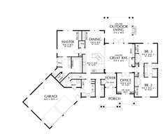 Floor Plans AFLFPW76496 - 1 Story Craftsman Home with 3 Bedrooms, 2 Bathrooms and 2,233 total Square Feet