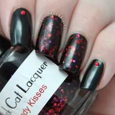 Black and red glitter nails by decorateddigits