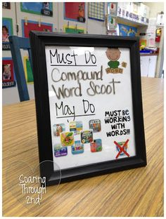 """Each station has """"Must Dos"""" and """"May Dos"""". I use picture frames from the Dollar Store to manage these!"""