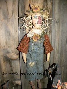 This is the cutest scarecrow to hang for Fall...from a Sweet Meadows Farm pattern...handmade by me...