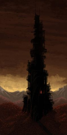 The Dark Tower from Stephen Kings epic: 'The Dark Tower'. The Dark Tower Dark Tower Movie, Dark Tower Art, The Dark Tower, Fantasy City, Fantasy World, Dark Fantasy, Stephen King Books, Stephen Kings, Evil Tower
