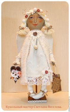 Купить авторская кукла ЗИМНИЙ АНГЕЛ - бежевый, авторская кукла, авторская игрушка, ангел, ангелочек