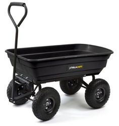Gorilla Carts GOR200B Poly Garden Dump Cart with Steel Frame and 10-Inch Pneumatic Tires, 600-Pound Capacity, 36-Inch by 20-Inch Bed, Black Finish, http://www.amazon.com/dp/B0026RGNJ2/ref=cm_sw_r_pi_awdm_rF3Rvb104JPHG