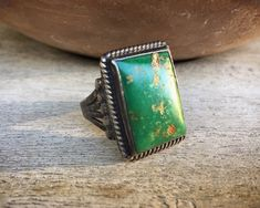 Green Turquoise Ring for Men Size Vintage Native American Indian Navajo Jewelry Navajo Jewelry, Western Jewelry, Coral Turquoise, Turquoise Jewelry, Mens Gemstone Rings, American Indian Jewelry, Native American Indians, Absolutely Stunning, 1930s