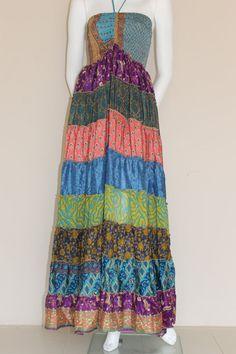 Patchwork Summer Dress/ Vintage silk dress/ by SilkinaFashions