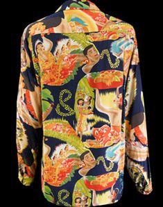 Mens Vintage Clothing 1940's Rare Sun Surf Hawaiian Shirt.