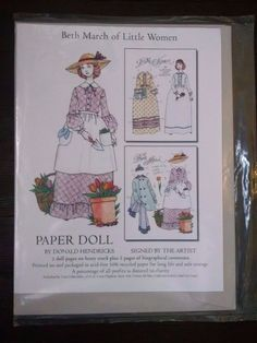 Beth March of Little Women Donald Hendricks Paper Doll Signed Uncut #TrueCollections