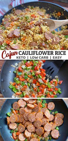 Cajun Cauliflower Rice (Easy Keto Dinner Recipe) - Keto Recipes - Ideas of Keto Recipes - Easy Cajun Cauliflower Rice Instrupix Low Carb Dinner Recipes, Keto Dinner, Diet Recipes, Vegetarian Recipes, Healthy Recipes, Non Dairy Dinner, Low Cholesterol Recipes Dinner, Cena Keto, Cauliflower Rice