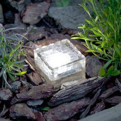 Small Solar Garden Path Light, Glass Brick 1 White LED