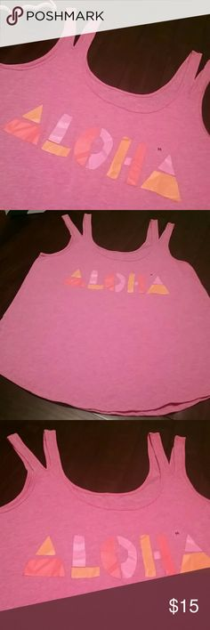 American Eagle ALOHA Tank! NWOT A SUPER Cute Soft Flowy AEO Pink Graphic Aloha tank in Size Medium...Ready for those warmer Days ahead. Several Available Grab Them! NWOT, Has Size Label! American Eagle Outfitters Tops Tank Tops