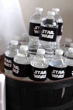 Star Wars water bottle labels from a Monochromatic Star Wars Birthday Party on Kara's Party Ideas | KarasPartyIdeas.com (21)