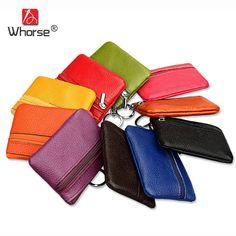 10e5dab5e372  WHORSE  Hot Genuine Leather Small Wallet Coin Pocket Women Real Cowhide  Zipper Slim Mini