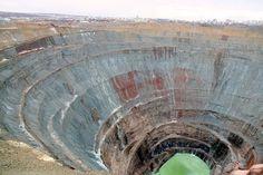 Soviet Mir diamond mine, Siberia. 1722 feet deep